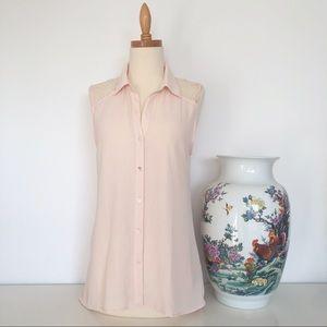 Forever 21 cream peach button down sleeveless top